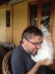 John with Michka,  a westie puppie February 2015 in Oz.