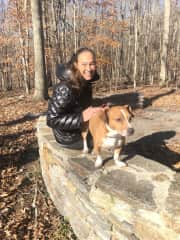Handsome Monti and I on sunny walk
