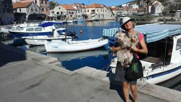 Me, Rosie and our second pup, Wylie....hanging out in Croatia.