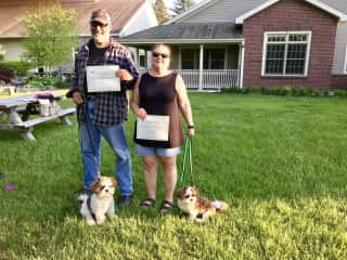 Debra and Gregg with Beau and Marley - Obedience Class Graduation