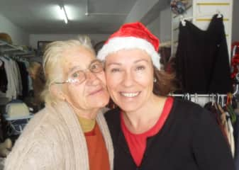 In the charity shop last Xmas Eve with Yvonna, one of our regular customers