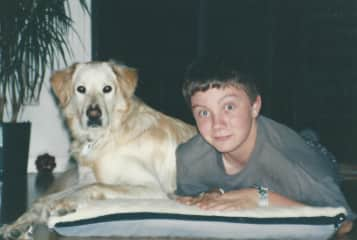 Murphy with our son, Jeff, when he was a teen