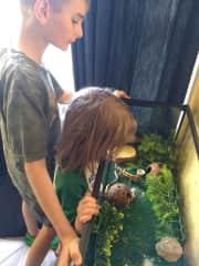 Rowan and Asher feeding their Leopard Gecko