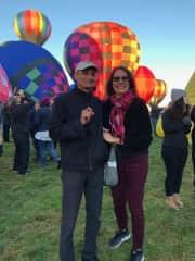 My husband and I enjoying Balloon Fiesta in New Mexico