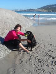 Early morning fun on the beach with Inca, Cape Town