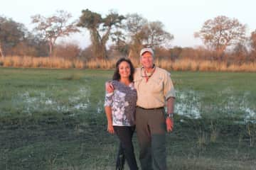 Mike and Jenny Quinn  2018 picture is in Okavanga Delta Botswana Africa