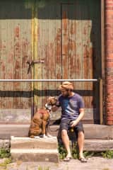 Wayne with Basil with Boxer, Melbourne