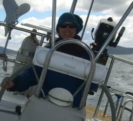 Anne on our sail boat