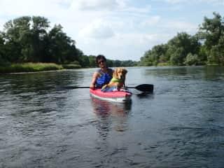 Jake and Oakley kayaking the Grand River, ON