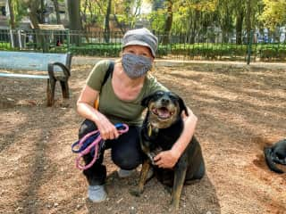 With shelter pup Pancha in Mexico City, January 2021