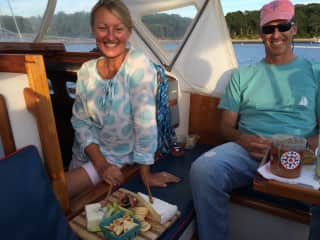 Anchored in Buzzards Bay with husband Peter
