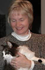 Colleen with our cat, Elmo. We've had many pets over the years. Elmo was a character.