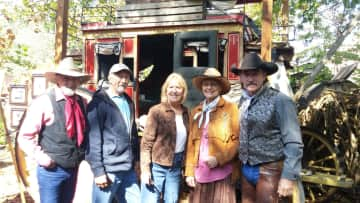 Our friends from Silver Dollar City, Branson, MO. Standing with the stage coach that we rode together on in Palo Duro Canyon, TX.