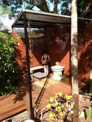 Gayle with Honey in a previous garden