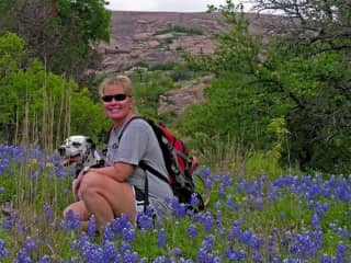 Chai and Gina hiking at Enchanted Rock, Texas.