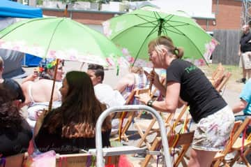 Me offering shade with my Ubi Umbrella at a community event.  2019.