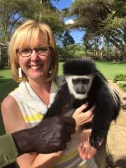 Me with a  Colobus monkey in Kenya