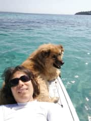 Scooby and I SUP paddling
