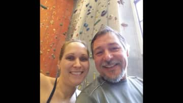 Sean and I at our local rock climbing gym