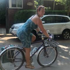 When I lived in Portland, Oregon, I biked to get around. This is me on my main ride. :)