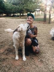 Me & Sasha (and Tom, the turkey) at Sweet Olive Animal Sanctuary