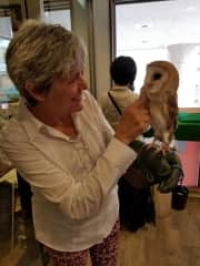 With Peaches at an Owl Cafe in Tokyo