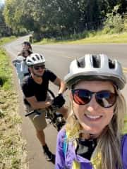 Biking down Haleakala Volcano in Maui with friends