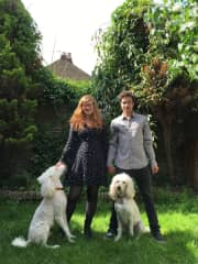 Us with two poodles at a previous Pet Sit