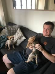 Stevo with Sylvia and Zorig, sweet and funny sisters at a pet sit in Hong Kong.