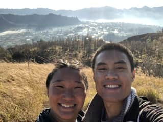 Carson and I after our sunrise hike in Bali 2019. We love hiking and make it a regular daily activity if we can.