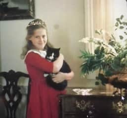 The first pet I remember was this cat Socks.  We were coming back from a picnic at a lake and my Mother thought she had run over this tiny black and white kitten. To our great luck, the kitten was fine and we adored her for 16 years!