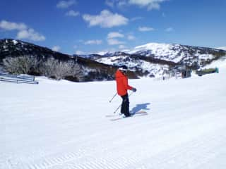 Skiing at home in Winter.