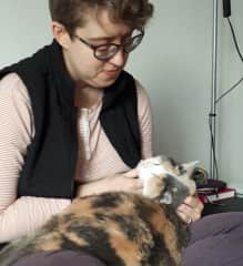 Hilary and our cat Puck