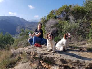 Poppy and Luna at the top of a mountain walk, Andalucia.