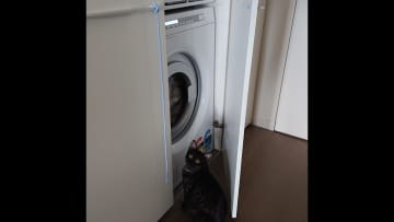 Laundry with front loader washing machine and drier