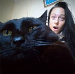 Alisa with her cat Barmaley