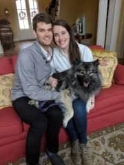 Zach and I with our Keeshond Kaiju