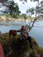 Linda with Huck in East Sooke BC Canada