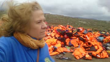 Working on Lifejackets to Africa project in Greece