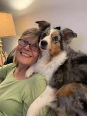 Trisha with her granddog, Callie, in Portland!