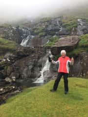THUMBS UP at a waterfall in Kerry