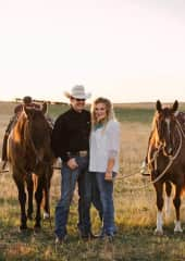 My husband Shane + our two horses Lippy and Rocket