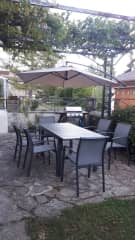 Patio area of garden