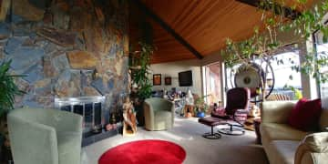 The vaulted living room