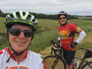 Mark and Jan cycling in Santa Cruz