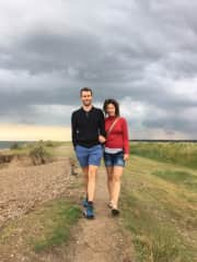 Me and my partner Adam on a walk along the Suffolk Coast