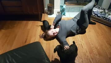 Jasmine getting happily mauled by Moxie and Kaylie  ;)