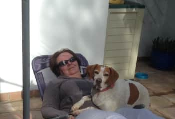Sunbathing with Lucy the Spanish pointer. Lucy always loves a snuggle!