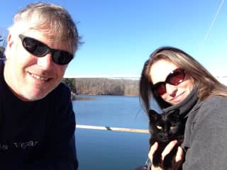 Me and my husband David and our cat.