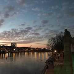 Night on the Rhine river
